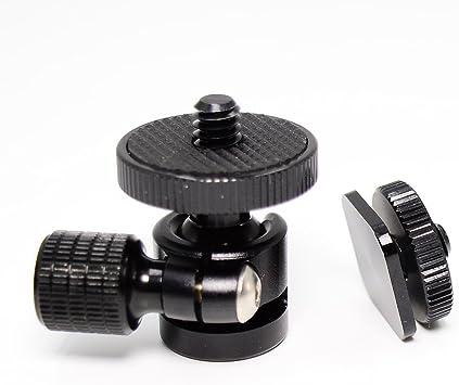 Black Camera Flash Hot Shoe Mount Adapter With 1//4 Female Thread//Screw Hole HA