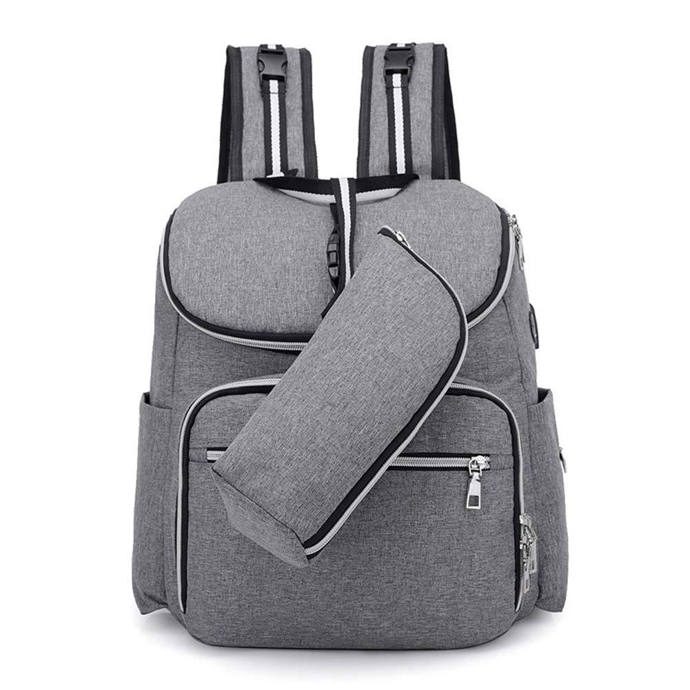 Gro/ße Kapazit/ät Grau mit USB-Lade Port Isolierte Tasche f/ür Unterwegs ALTcompluser Baby Wickeltasche Wickelrucksack