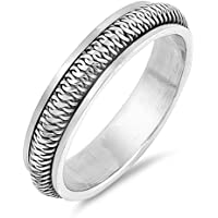 Tire Chain Link Knot Spinner Wedding Ring .925 Sterling Silver Band Sizes 7-13