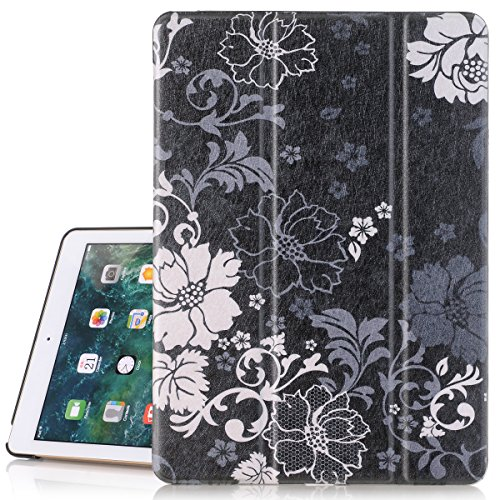 iPad 5th Generation Case, Hocase PU Leather Smart Case w/ Cute Floral Print, Auto Sleep/Wake Feature, Microfiber Lining Hard Back Cover for iPad Model A1822/A1823 9.7