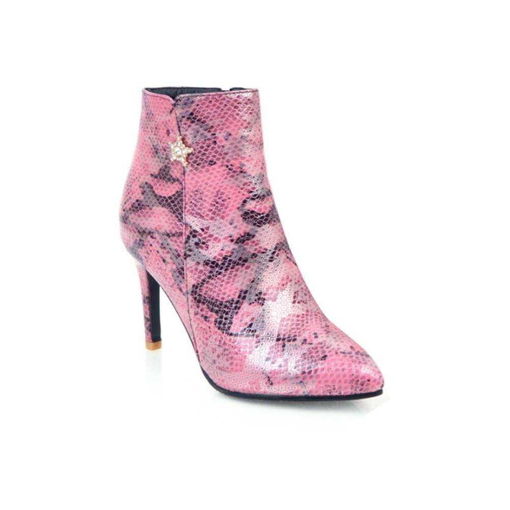 LVRXJP13 Frauen Stilettos Spitze Schlange Schuhe Große Größe Seitlichem Reißverschluss Kurze Röhre Kurze Stiefel Martin Stiefel Frauen Stiefel 40
