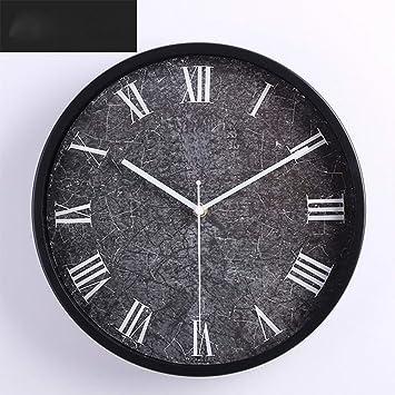 weiwei Reloj De Pared Moderno Forja, Redondo Romano Reloj Digital Reloj De Pared del Salón Decoración-A: Amazon.es: Hogar