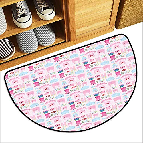DILITECK Bedroom Doormat Baby Little Children Garments Cute Skirt Shoes Tutu Adorable Clothes Pattern Easy to Clean W24 xL16 Pale Pink Baby Blue Pink