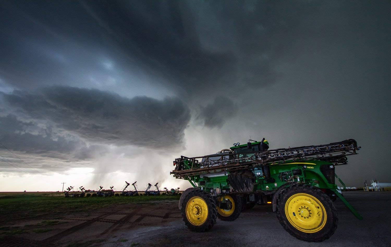 John Deere Photography Art Print - Picture of Storm Over Sprayer in Kansas Farm and Ranch Decor Artwork for Home Decoration 5x7 to 30x45