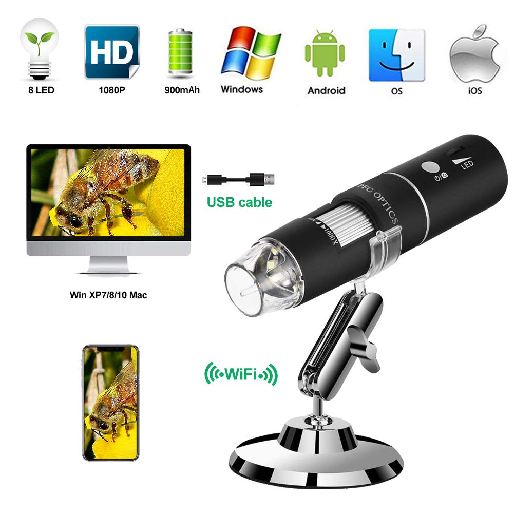 Wireless Digital Microscope PFC Optics 50X-1000X 1080P Handheld Portable Mini WiFi USB Microscope Camera with 8 LED lights for iPhone/iPad/Smartphone/Tablet/PC by PFC Optics