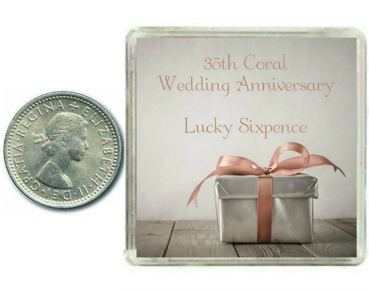 Amazon.com: Lucky Sixpence Coin for a Coral 35th Wedding Anniversary ...