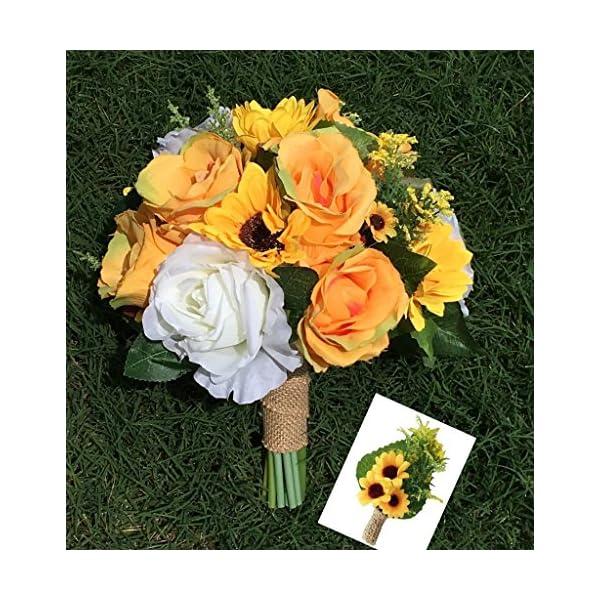 Angel Isabella Wedding Bouquet – Summer Sunflower Rose Bridal Bouquet Artificial Flowers