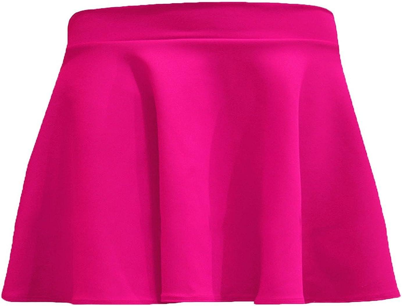 R KON Girls Kids Plain Flippy Flared High Waisted Skater Skirt