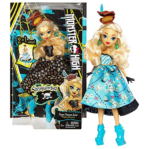 Mattel Year 2016 Monster High Shriekwrecked Series 11 Inch Doll Set - Daughter of Davy Jones DAYNA TREASURA JONES with 2 in 1 Dress, Hidden Treasure Hat and Gold Heels