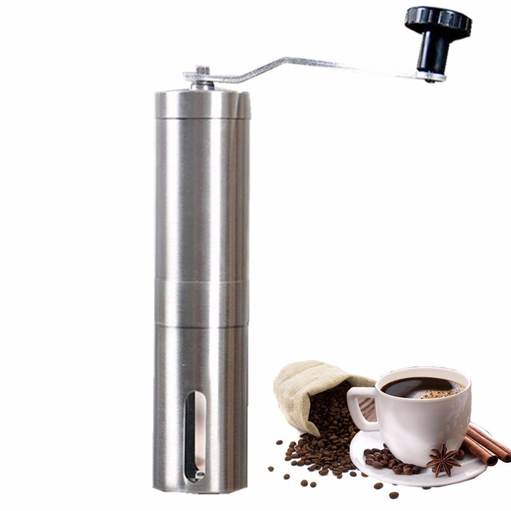 Manual Coffee Grinder,Hand Held Adjustable Burr Grinder Design Setting Ceramic Mill Grinders Stainless Steel Body Bean Machine LinPu