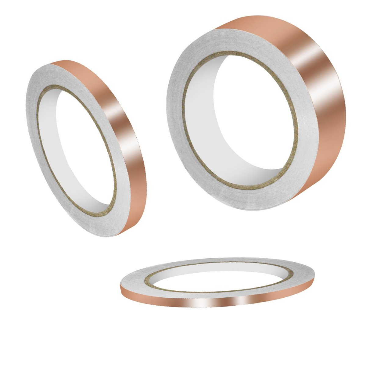 3 Pieces Single-sided Conductive Copper Foil Tape 22 Yards for EMI Shielding, Stained Glass, Art Work, Soldering, Electrical Repairs, Grounding (6 mm, 13 mm, 25 mm)