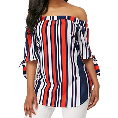 953b34db51f004 Women s Boho Striped Off Shoulder Tie Knot Short Sleeve Shirt Casual Blouses  Tops Red