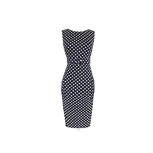 Op Sky Women's Elegant Polka Dot Pencil Tank Business Work Belted Dress