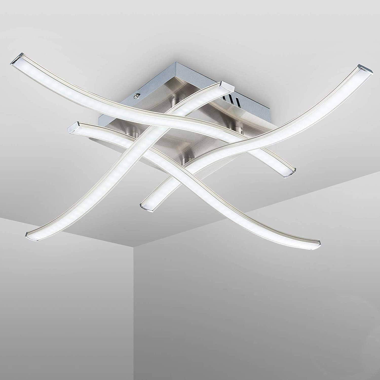 LED Ceiling Light Elegant Curved Design LED Ceiling Lamp 4 Built-in LED Boards 24W 2000lm 4000K Modern Metal Ceiling Lighting Fixture for Living Rooms Bedrooms 85V-265V Natural White