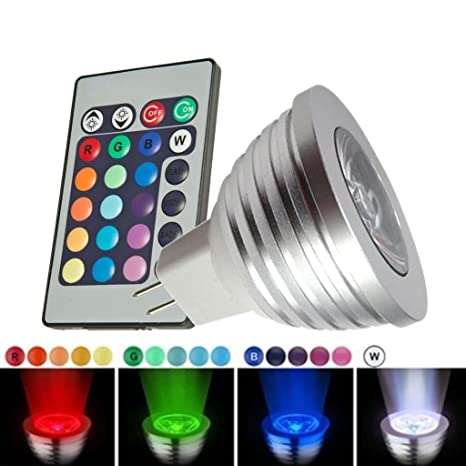 SODIAL(R) MR16 3W 16 cambio de colores RGB LED Luz Lampara Bombilla teledirigida