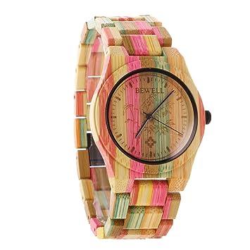 Gazechimp Joya de Mujer Reloj de Cuarzo Analógico Pulsera de Madera Manual Ideal Para Regalo Color Bambú: Amazon.es: Juguetes y juegos