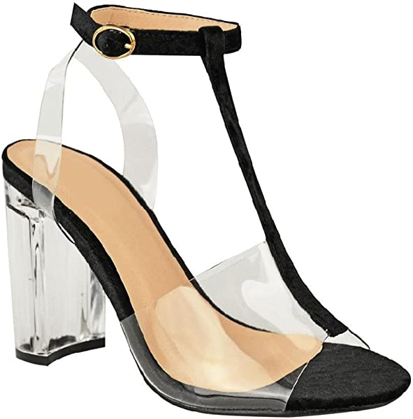e000c092285 Womens Ladies Party Classy Barely There Clear Perspex Block Heel Two Part  Ankle Strap Sandals (3 UK