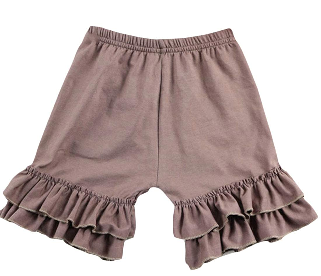 Wofupowga Girls Falbala Elastic Waist Pure Color Layered Shorts