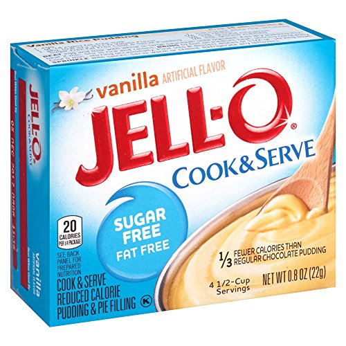 JELL-O Vanilla Cook & Serve Sugar Free Pudding & Pie Filling Mix (0.8 oz Boxes, Pack of 6) (Sugar Free Chocolate Layer Cake)