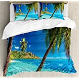 Ambesonne Ocean Duvet Cover Set Queen Size, Image of a Tropical Island with the Palm Trees and Clear Sea Beach Theme Print, Decorative 3 Piece Bedding Set with 2 Pillow Shams, Turquoise Blue