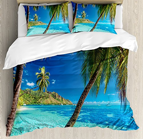 Ocean Duvet Cover Set King Size by Ambesonne, Image of a Tropical Island with the Palm Trees and Clear Sea Beach Theme Print, Decorative 3 Piece Bedding Set with 2 Pillow Shams, Turquoise Blue (Bedding Beach Sets King Theme)