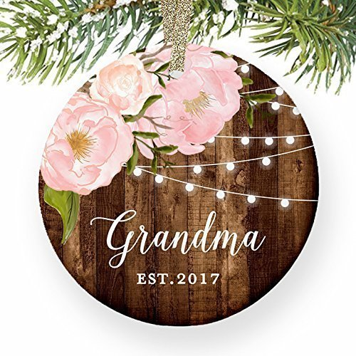 Est Vintage Black Finish (Grandma Est. 2017, 1st Christmas as a Grandmother, Nana Ornament Grandmom Present New Baby Keepsake Established Dated Peony Farmhouse Collectible 3