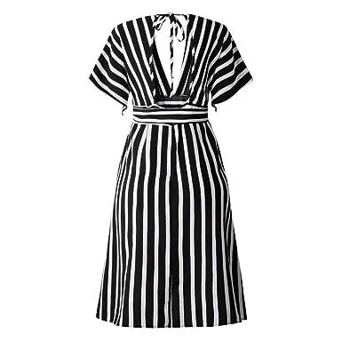 e1dc0f3cf5f GLVSZ Pocket V Neck Short Sleeve Mini Dress Evening Party Dress with Belt  Women Black S