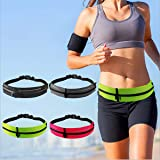 SKPower Running Belt Waist Packs - [2 Pockets] Reflective Exercise Belt Expandable Waterproof for Sport Hiking Walking Men Women Workout iPhone 11 X XS 8P 7P Samsung Huawei Google up to 6.8 inches