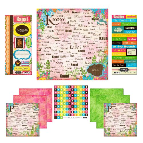 (Scrapbook Customs Themed Paper and Stickers Scrapbook Kit, Kauai Paradise)