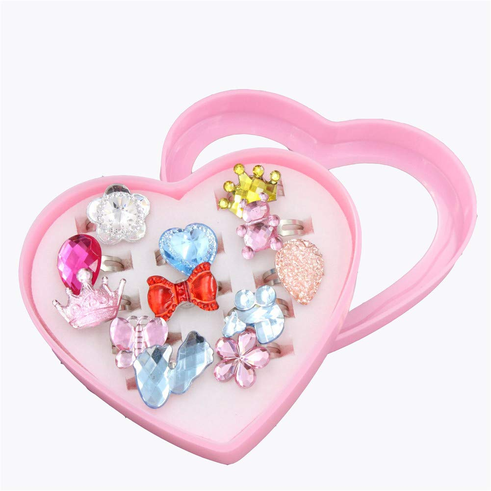 Princess Costume Party Birthday Gifts 10CPS Box Set Zeagro Girls Rings for Kids Adjustable Jewellery Ring Dress up Rings for Children
