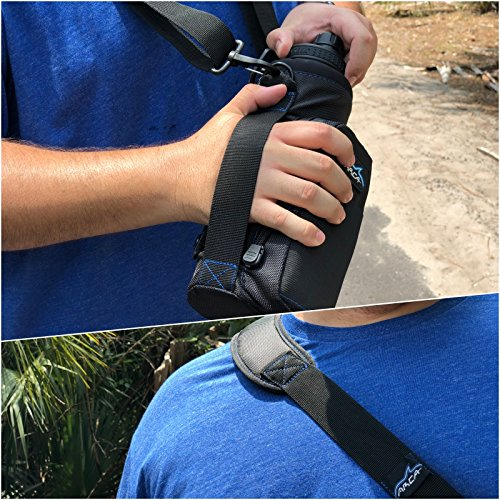 Wallet and Large Pocket for Storing Items Shoulder Strap Arca Gear 40 oz Insulated Stainless Water Bottle Carrier and Holder Includes Carry Handle