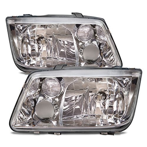 HEADLIGHTSDEPOT Chrome Housing Halogen Headlight Compatible with Volkswagen Jetta 1999-2002 Without Fog Lamp Includes Left Driver and Right Passenger Side Headlamps