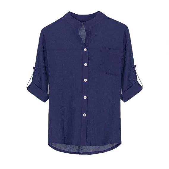 Mujer Blusa Camisa Manga Larga ❤️ZARLLE Mujeres Stand Collar SóLido BotóN Abajo Camisa De Manga