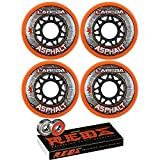 Labeda Asphalt Inline Roller Hockey Wheels 72mm Orange 85A 4-Pack Bones Reds