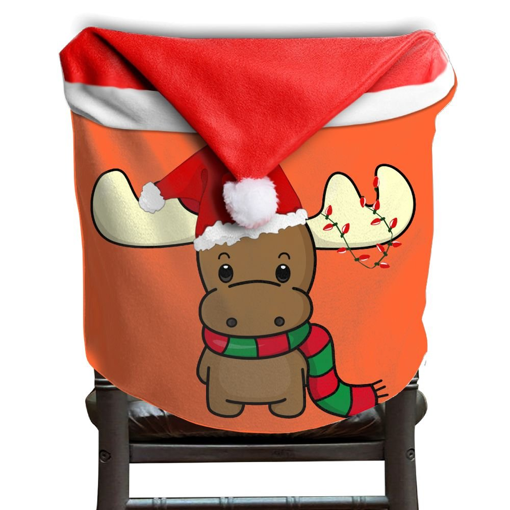 4 Pcs Happy Chirstmas Reindeer Christmas Chair Back Cover Christmas Holiday Festive Decor Santa Hat