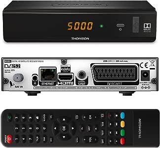 Thomson ths816 Receptor Satélite Digital HDTV (– DVBS2 [HD, HDMI, cardless: Adecuado para ORF Digital directamente y simplitv Sat [HDMI, SCART, USB, Ethernet, salida coaxial digital, Full HD SATReceiver] – Negro: