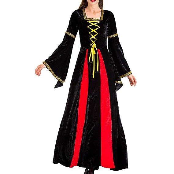 RYTEJFES Vestido Largo De Cosplay De Mujer con Diadema Retro ...