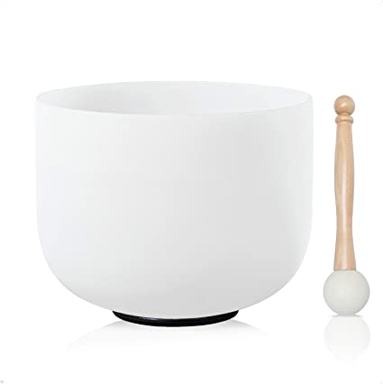 KVKA A Note Third Eye Chakra Frosted Quartz Crystal Singing Bowl 8 inch with Carrying Case