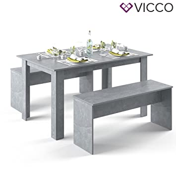 VICCO Tischgruppe Beton 140 X 90 Cm   4 Bis 6 Personen   Esszimmer Esstisch  Küche