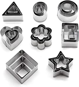 MEMOVAN Mini Metal Cookie Cutters Set 24PS, Mini Geometric Shape Cookie Cutter, Star Flower Round Square Triangle Oval Rectangle Heart Mini Cutter for Pie Fondant Cake Fruit Vegetable Donut Kids Food