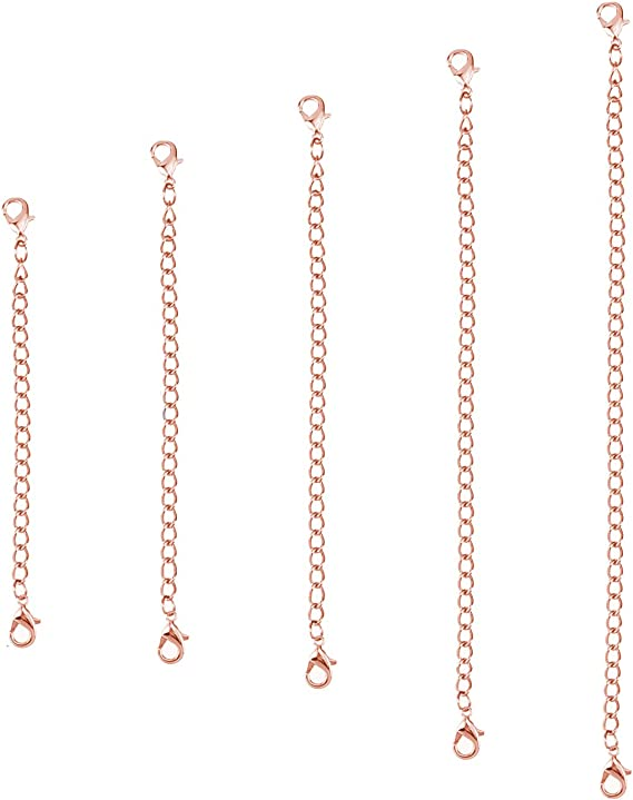 Amazon Com 5 Pieces Necklace Extenders Eboot Chain Extenders Set For Necklace Bracelet Diy Jewelry Making Rose Gold Arts Crafts Sewing