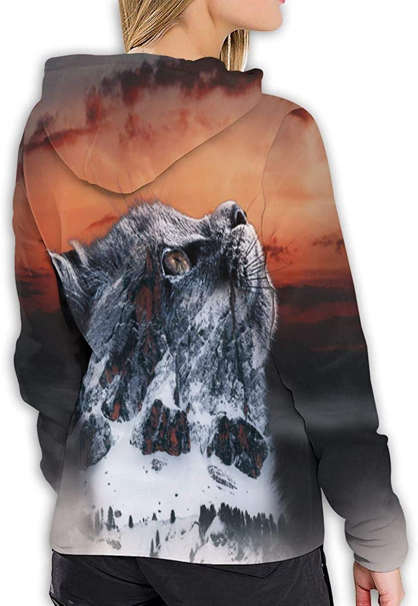 Snow Mountain Top Cat Sunset Womens Hoodies 3D Print Pullover Tops Sweatshirt