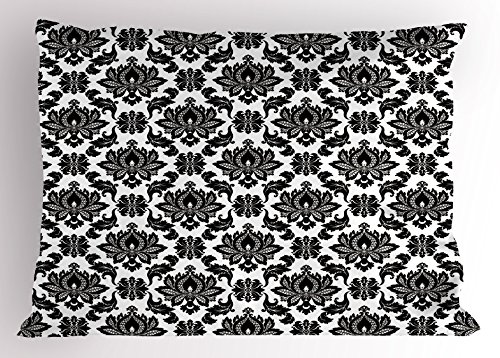 Lunarable Victorian Pillow Sham, Floral Damask Pattern Monochrome Illustration Baroque Art Design Ornate Motif, Decorative Standard Size Printed Pillowcase, 26 X 20 inches, Black White - Luxury Damask Pillow Sham