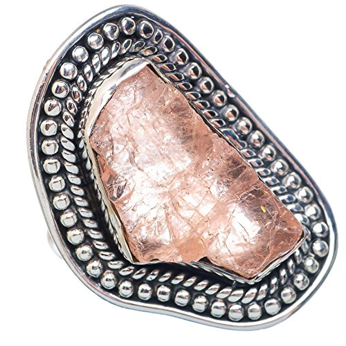 Large Rough Rose Quartz Ring Size 7.25 (925 Sterling Silver) - Handmade Boho Vintage Jewelry RING908192