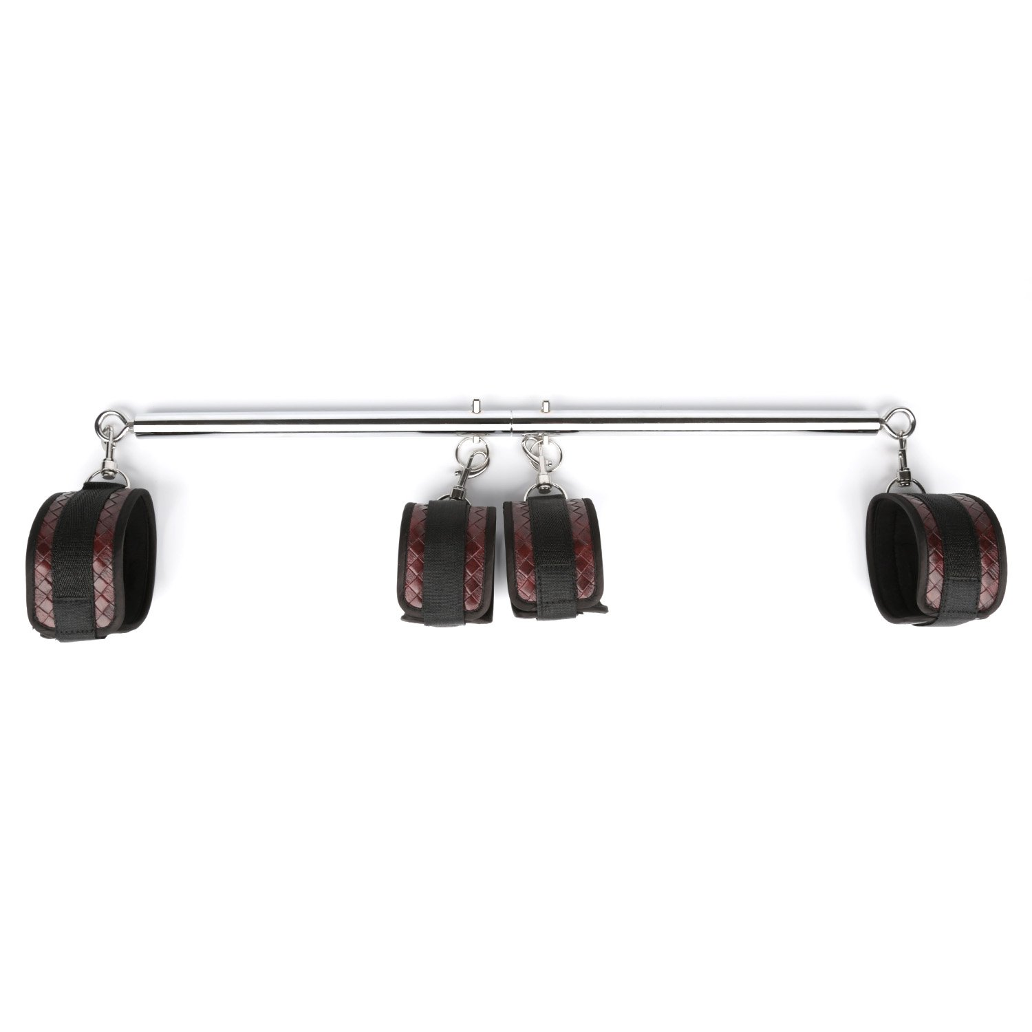 PKBQUEEN Expandable Spreader Bar with 3D Embossed Leather Wrist Ankle Weights Cuffs Position Master Sports Training