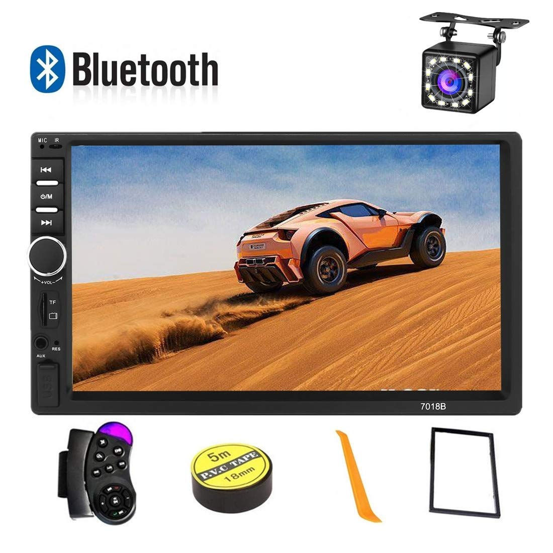 Car Stereo 2 Din,7 inch Touch Screen MP5 /MP4/MP3 Multimedia Player,Bluetooth Audio,Car Stereo Receivers,FM Radio,USB/SD/AUX Input,Mirror Link,Support Steering Wheel Remote Control,Rear View Camera by Konifo
