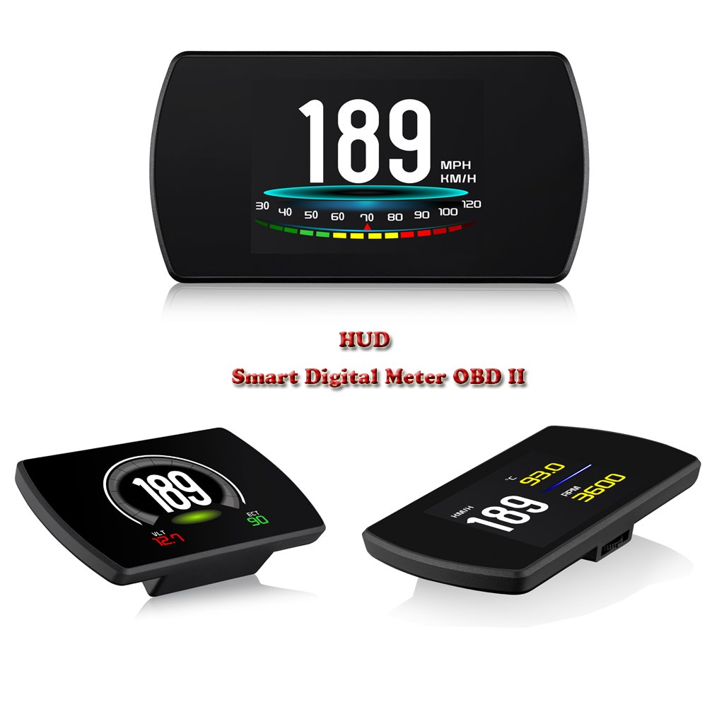 4.3' OBD II Head in High Display HUD Digital Digital EUOBD TFT LCD Acceleration Mode Test HUD Competitive Performance Brake Vehicle Speed RPM Water Temperature Voltage Consumption Consumption Average GREATBOX P12