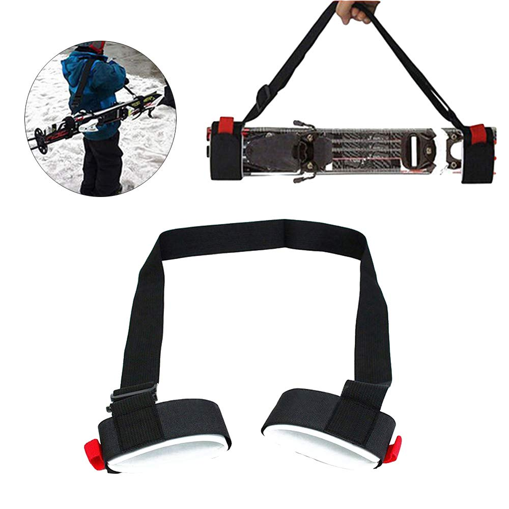 Genenic 2 Pack Ski Carrier Straps,Shoulder Sling with Cushioned Velcro Holder Protects Skis & Poles from Scratches Damage,Downhill Backcountry Snow Gear Accessories