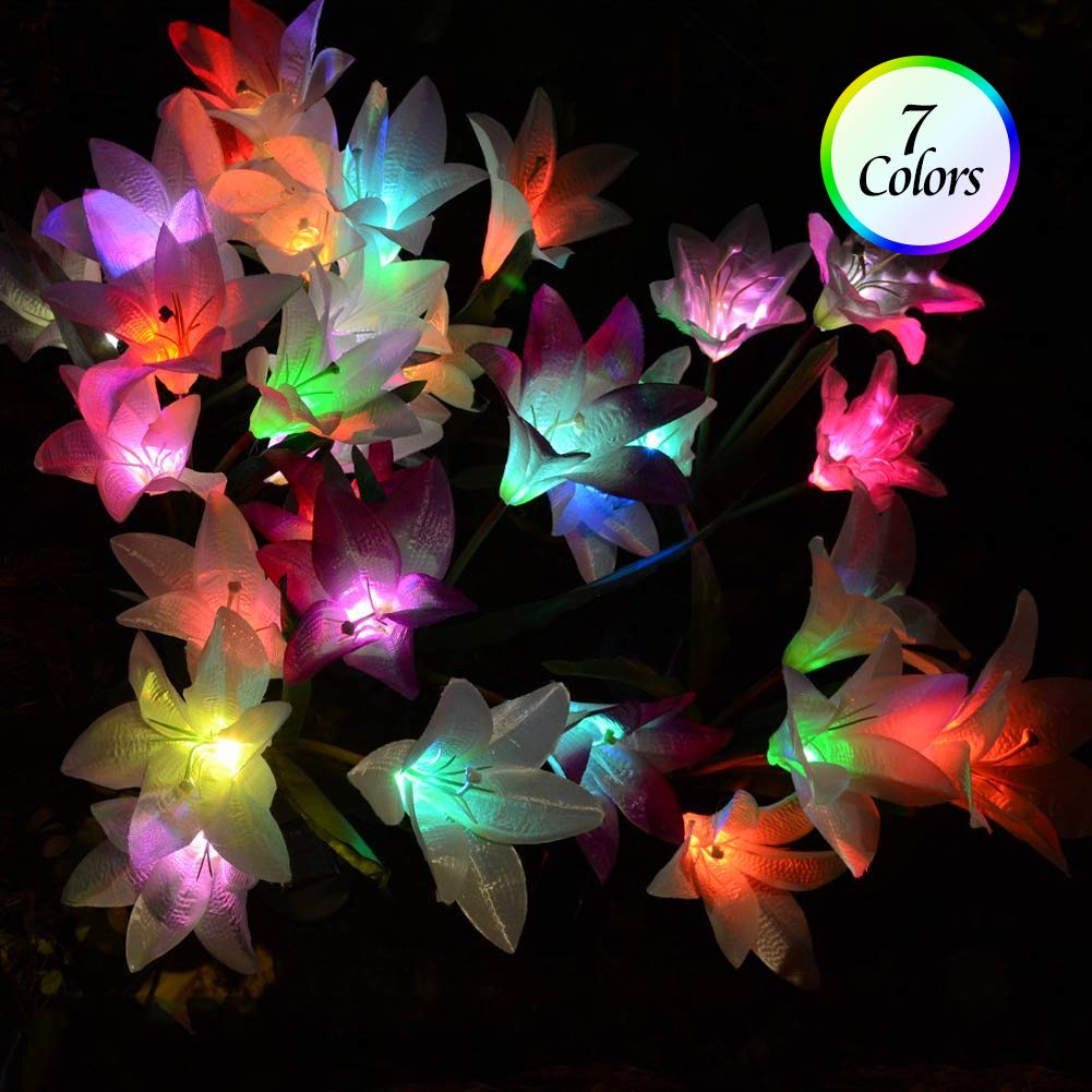Outdoor Solar Garden Stake Lights - Solar Powered Lights with 8 Lily Flower, Multi-Color Changing LED Solar Stake Lights for Garden, Patio, Backyard (Purple and Red)) by ANMIX (Image #3)