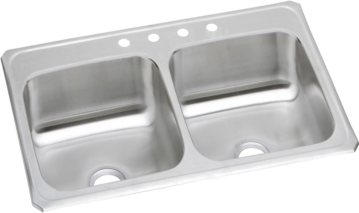 Elkay Celebrity CR33213 Equal Double Bowl Top Mount Stainless Steel Sink